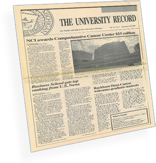 image of University Record newspaper's front-page story about the Cancer Center