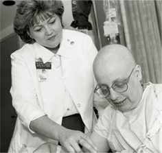 Karen Hammelef with a patient