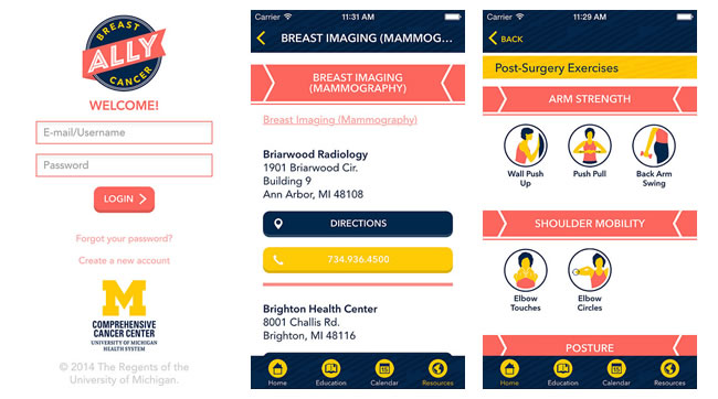 screenshots from the Breast Cancer Ally app