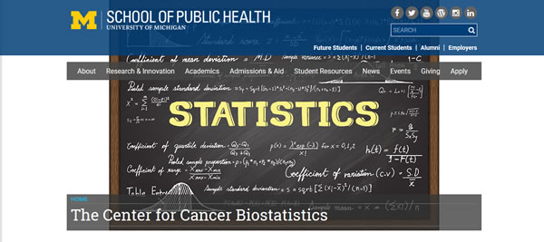 image capture of the Center for Cancer Biostatistics