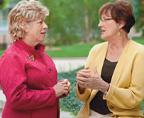 Ruth Freedman and Maria Lyzen, breast cancer advisory and advocacy members