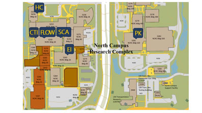 map of North Campus showing locations of the shared resources